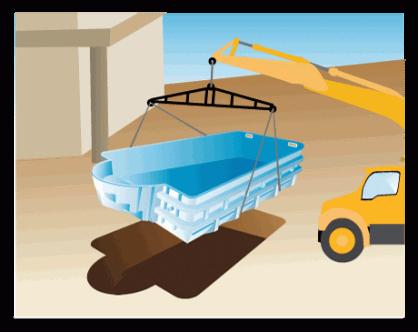 Proceso de instalación de piscina prefabricada de poliéster - paso 3
